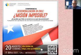 Economista en Suiza instruyó sobre cómo funciona un país descentralizado y cómo lograrlo en Chile