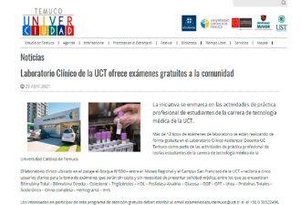 29.04.2021 Laboratorio clínico UCT ofrece exámenes gratuitos a la comunidad