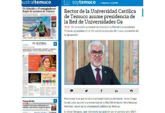 15.04.2021 Rector de la Universidad católica de Temuco asume presidencia de la Red de Universidades G9
