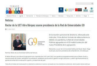 15.04.2021 Rector de la UCT asume presidencia de la Red de Universidades G9