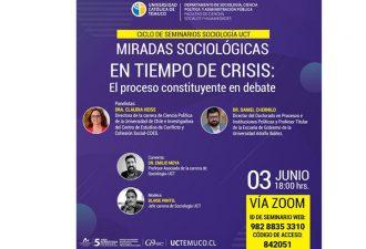 """Sociología UCT inicia una serie de seminarios denominados """"Miradas sociológicas en tiempos de crisis"""""""